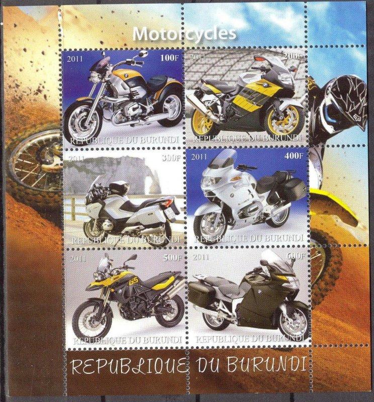 Burundi 2011 Motorcycles MNH Cinderella !