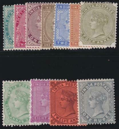 India 1873-1876 SC 36-46 Mint Set