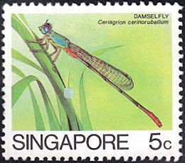 """Singapore # 453a used ~ 5¢ Insect, redrawn, """"Singapore"""" is 20½mm long"""