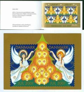 Denmark. Christmas Seals 2001.  Souvenir Folder. Angels,Christmas Tree.