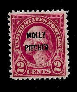 US 1928 Sc# 646 2 c  Molly Pitcher Mint NH - Crisp Color - Centered