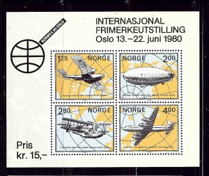 Norway 753 MNH 1979 Airplanes and Zeppelin S/S