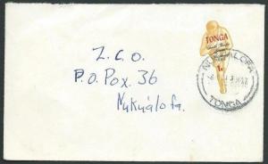 TONGA 1971 local cover ex NUKUALOFA - 1s Games self adhesive.............39476