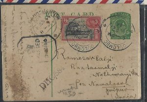 CEYLON COVER (P1211B) 1944 KGVI 3C PSC +2C CENSORED PSC TO INDIA.  UNUSUAL
