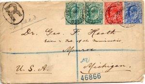 1902 Sg 217/230 ½d/1d/2½d on 1902 Registered Cover Grimsby to Monroe inc Letter