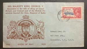 1935 Roseau Dominica Cover  King George V Silver Jubilee To Rochester NY USA