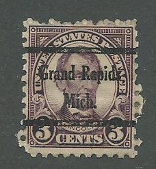 1925 USA Grand Rapids, Mich.  Precancel on Scott Catalog Number 584
