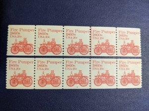 U.S. 1908 plt # coil ln pr strips of 5 VF-XFNH, CV $10