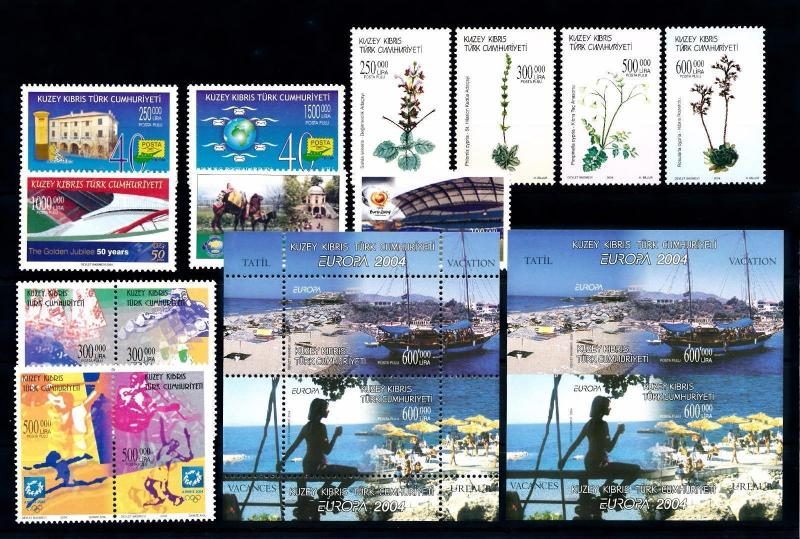 [51527] Turkish Cyprus 2004 Complete Year Set with Miniature sheets MNH