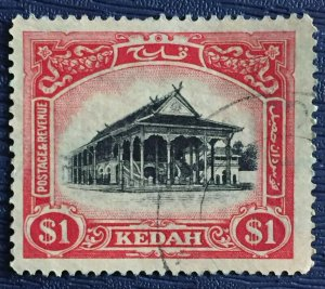 MALAYA 1924 Kedah Definitive $1 Fine Used MSCA SG#37 M3234