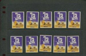 10 VINTAGE 1951 GERMANY EIN JA GROSSE GESUNDHEITS FAIR POSTER STAMPS (L1165)