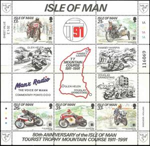 Isle of Man #476a MNH S/S CV$5.25 Motorcycle Tourist Trophy Mountain Course