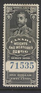 CANADA REVENUE FWM68 1930 $1.50 FEDERAL WEIGHTS & MEASURES USED
