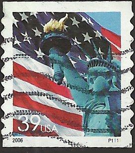 P.N.C. P1111 # 3981 USED FLAG AND STATUE OF LIBERTY