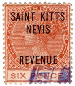 (I.B) St Kitts Revenue : Duty Stamp 6d