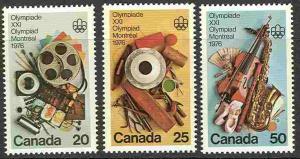 Canada # 684-86 Olympic Arts Programs (3)   Mint NH