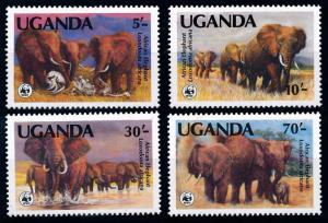 [66328] Uganda 1990 Wild Life Elephants WWF Perf. 14 MNH