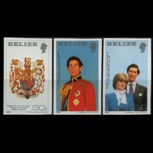 BELIZE 1981 - Scott# 548-50 R.Wedding Imperf. Set of 3 NH