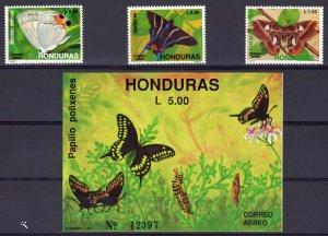 Honduras 1991 Sc#C809/C812 Butterflies and Moths Set (3) + 1 Souvenir Sheet MNH