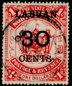 LABUAN SG78, 30c on $1 scarlet, FINE USED. Cat £65.
