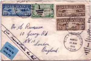 United States Early Airmail 10c Map and 15c Map (2) with 20c Clipper 1940 Sal...