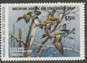 U.S.-ARKANSAS 3, STATE DUCK HUNTING PERMIT STAMP. MINT, NH. VF
