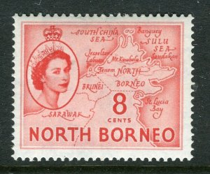 NORTH BORNEO; 1955 early QEII issue fine Mint hinged value, 8c
