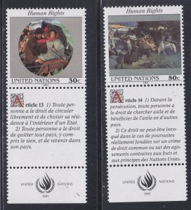 United Nations - New York # 599-600, Human Rights with Labels, NH, 1/2 Cat.