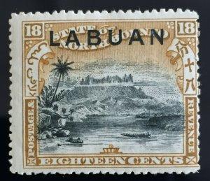 MALAYA 1896 LABUAN opt NORTH BORNEO 18c MH P.15 SG#72 M2641