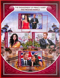 A2116 - MALDIVES, ERROR: MISPERF, M/S - 2018, Prince Harry, Meghan Markle. Flags