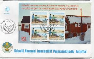 Greenland Sc B21a 1996 Handicapped stamp sheet on First Day Cover