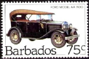 Antique Automobile, Ford Model AA, 1930, Barbados stamp SC#612 MNH