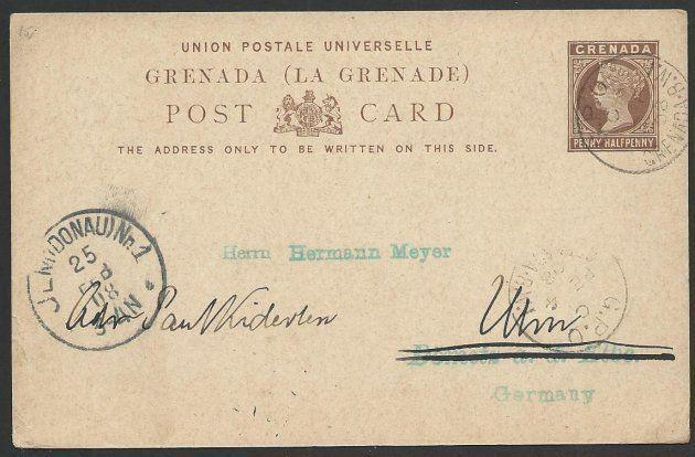 GRENADA 1908 QV 1½d postcard used to Germany...............................51440