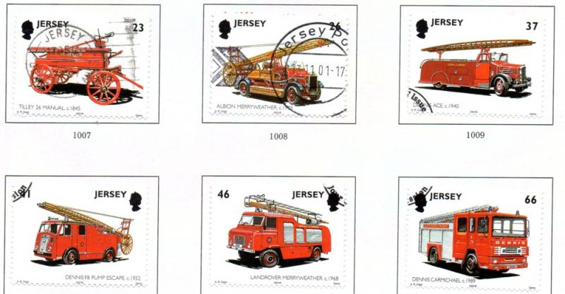 Jersey  Sc 1005-10 2001 Fire Engines stamp set used