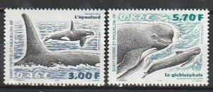 2001 St. Pierre and Miquelon - Sc 702-3 - MNH VF - 2 single - Whales