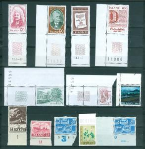 Iceland.  Lot 12 Different Mnh. With Margin Plate Number. 1948-1980is.