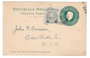 1921 Mexico Uprated 2c Vazquez on 2c Hidalgo Postal Stationery Card to US