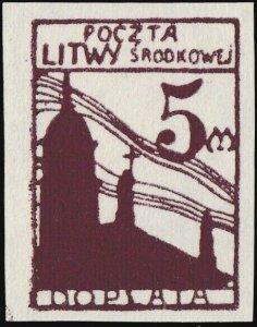 CENTRAL LITHUANIA / MITTELLITAUEN - 1921 Mi.P.5.B 5M Mint* - ref.916m