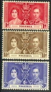 NIGERIA 1937 KGVI CORONATION Set Sc 50-52 MNH
