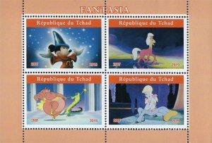 Chad 2019 Fantasia Mickey Mouse Cartoons 4v Mint Souvenir Sheet S/S. (#125)