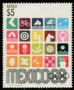 MEXICO C343, $5Pesos 1968 Olympics, Mexico City MINT, NH. F-VF.