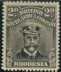 RHODESIA-1923 2d Black & Slate Purple.  A mounted mint example Sg 312
