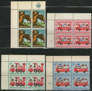 UN NY MNH Scott # 160-163 UNICEF & Peacekeeping Inscription Blocks (16 Stamps)-1