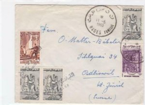 tunisia  1960 to switzerland  stamps cover ref r16034