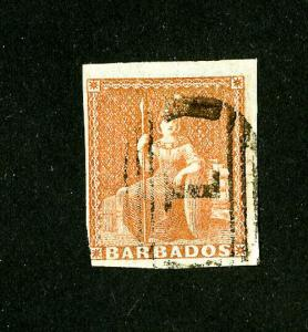 Barbados Stamps # 4 VF used 1 cancel Scott Value $325.00