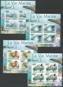 W1102 IMPERFORATE 2011 BURUNDI FAUNA FISH & MARINE LIFE VIE MARINE 4KB FIX