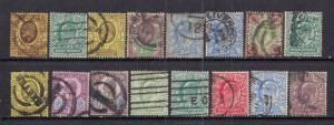 GB 1901 - 13 KEV11 Selection of 16 stamps - M457