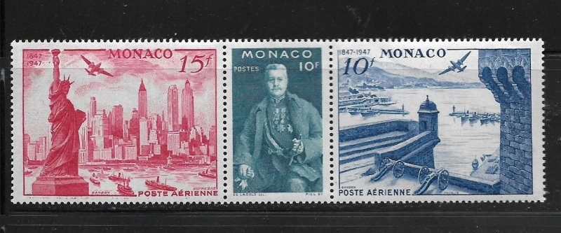 MONACO, C20A,  MINT HINGED, STRIP OF 3, NYC MAY, 1947