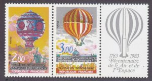 France 1864a MNH 1983 Manned Flight Bicentenary - Hot Air Balloons Pair w/Label