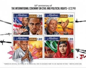 MALDIVES 2016 SHEET INTERNATIONAL COVENANT MANDELA MALCOLM X GANDHI mld16803a